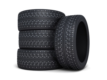 Winter tire car on white background (done 3d)  photo