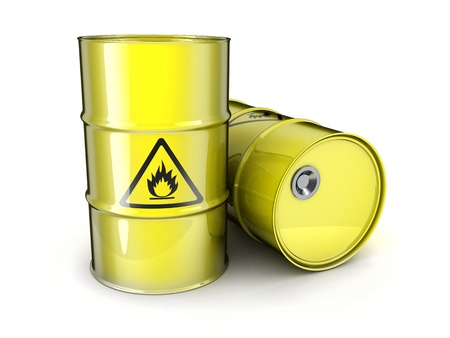 obtain: Two yellow barrels (done in 3d) Stock Photo