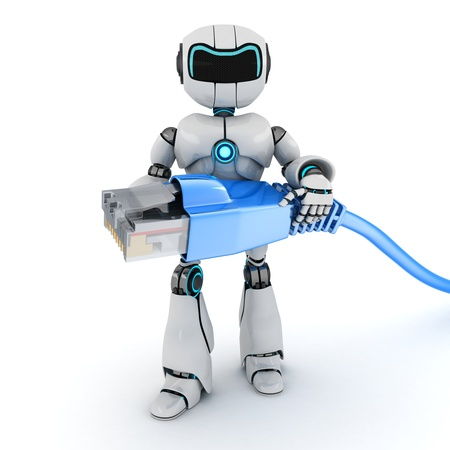 Robot and computer cable (done in 3d)  Stock Photo - 21791403