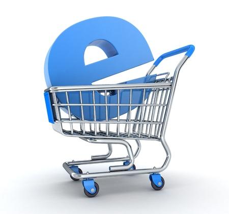Warenkorb und Symbol e-shop in 3D