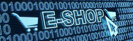eshop: E-shop and binary code (done in 3d) Stock Photo