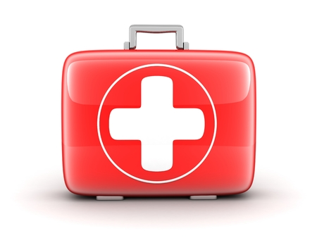 first-aid kit on white background (done in 3d) photo