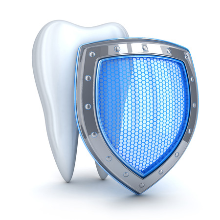 carious: Tooth and blue shell  (done in 3d, isolated) Stock Photo