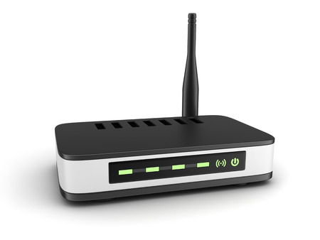 modem: Transmitter wi-fi on white background (done in 3d)