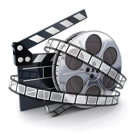 rollo pelicula: Cine y sujetapapeles símbolo (hecho en 3d)