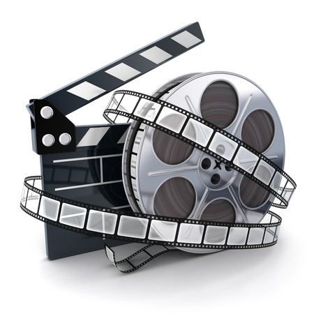 clap: Film and clipboard symbol (done in 3d)  Stock Photo