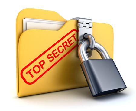 Datei top secret und Schloss (in 3d getan)