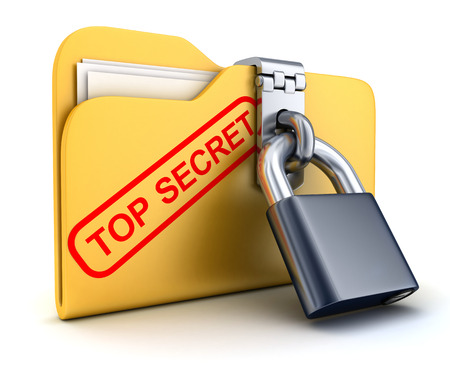 secret information: File top secret and lock (done in 3d) Stock Photo