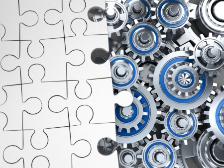 apparatus: Abstract jigsaw-puzzle and gear (done in 3d)   Stock Photo
