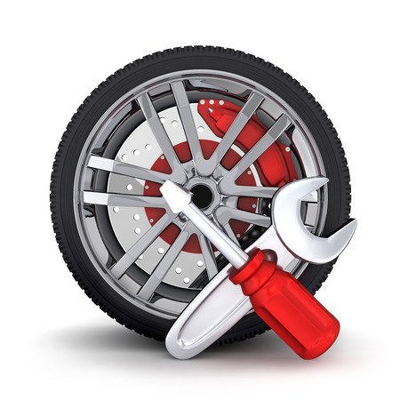 car part: Car wheel on a white background  (done in 3d)