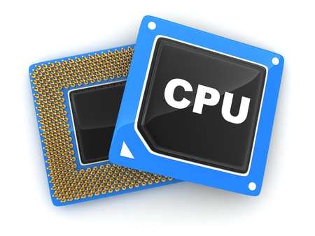 cgi: Two CPU on white background (done in 3d, cgi)