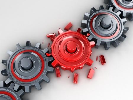 cadena rota: Engranajes mal rojo (hecho en 3d)