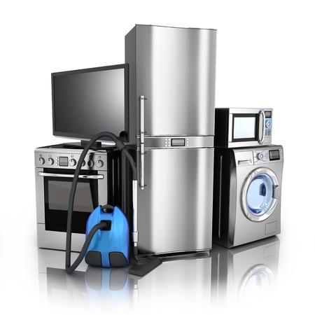 家庭用電化製品。テレビ、冷蔵庫、掃除機、電子レンジ、洗濯機、電気炊飯器
