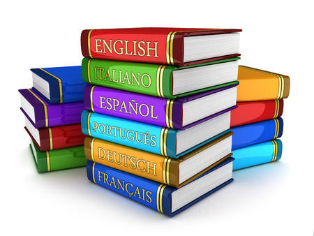 linguistic: European language textbooks (done in 3d) Stock Photo