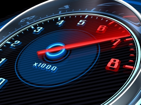 tachometer: Tachometer and arrow on 7 (done in 3d) Stock Photo