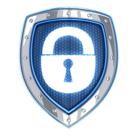 def: Shield security (done in 3d, isolated)   Stock Photo