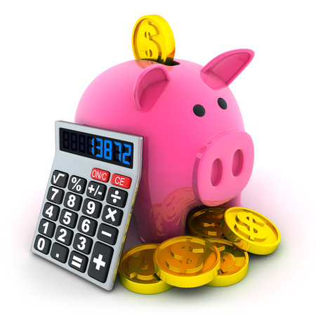 Calculate and pig moneybox (done in 3d) photo