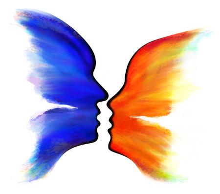 papillon dessin: R�sum� papillon et la silhouette de visage Banque d'images