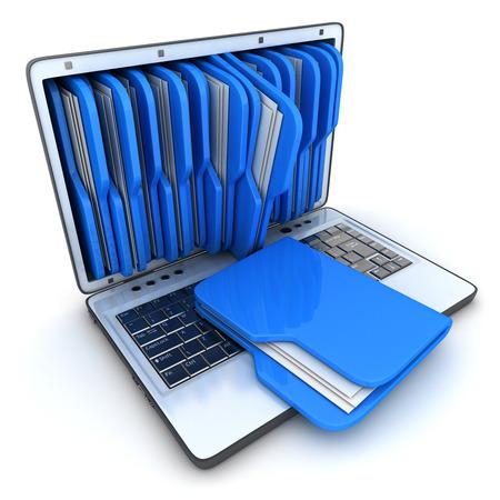 白い背景の上のノート パソコンと青のフォルダー