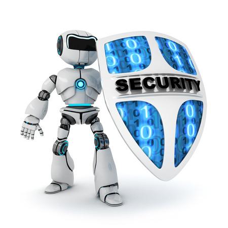 robot: Resumen de robot y escudo (hecho en 3d, aislada) Foto de archivo