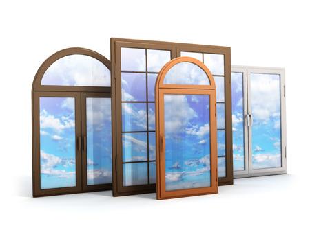 venster met reflecties van de hemel (gedaan in 3d)