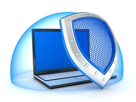 Schild anti virus- en lap top, abstracte (gedaan in 3d)  Stockfoto