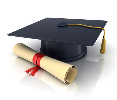 trencher-cap and diploma (done in 3d) Stock Photo