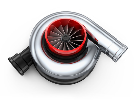 supercharger: Turbine car on white background (done in 3d)