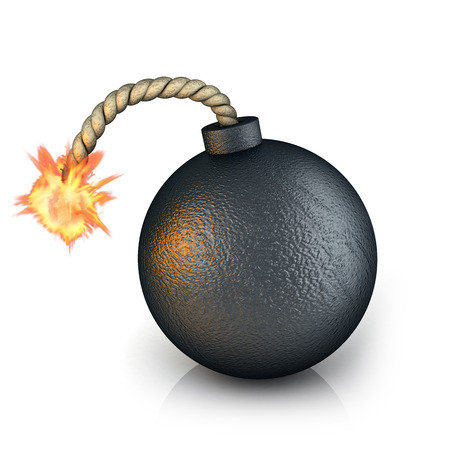 Old bomb on white background (done in 3d)