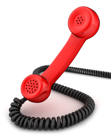 telephony: Red handset (done in 3d, isolated)