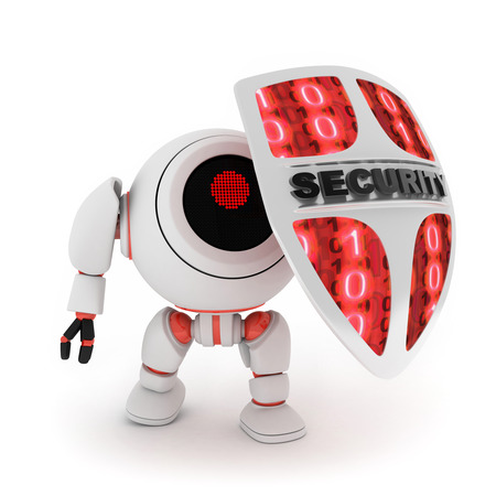 web robot: Abstract robot and shield (done in 3d,isolated)  Stock Photo