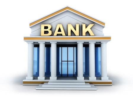 建物と看板の銀行 (3 d で行います) 写真素材