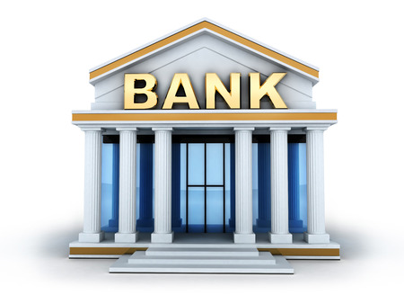 Building and sign bank (done in 3d)  Stock Photo