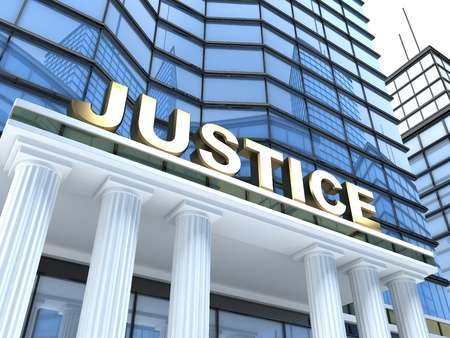 impartial: Building and sign Justice (done in 3d) Stock Photo