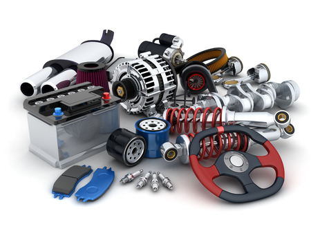 spare car: Many auto parts (done in 3d) Stock Photo