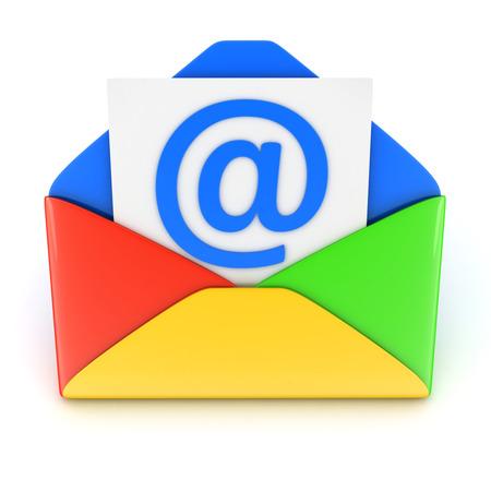 telegrama: Azul e-mail en blanco (hecho en 3d) Foto de archivo