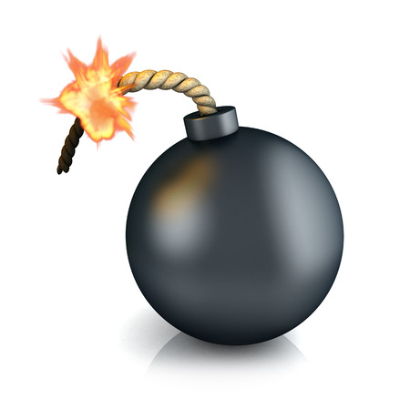 explosion risk: Old bomb on white (done in 3d) Stock Photo