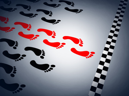 footstep: Abstract sprint and red footstep