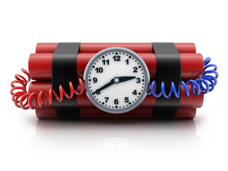 TNT and clock on white background