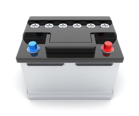 pila: La batería del coche en el fondo blanco (hecho en 3d)