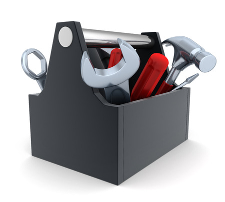 mending: Toolbox, white and isolated  background (done in 3d)    Stock Photo