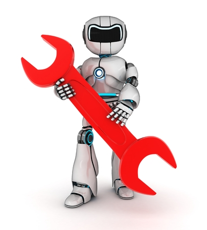 Robot and red key (done in 3d) photo
