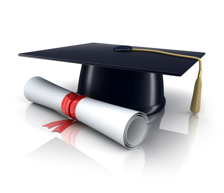 trencher: trencher-cap and diploma (done in 3d) Stock Photo