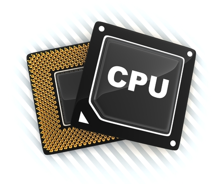 Two CPU on white background (done in 3d, cgi)