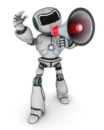 talking robot: Abstract robot and megaphone (done in 3d) Stock Photo