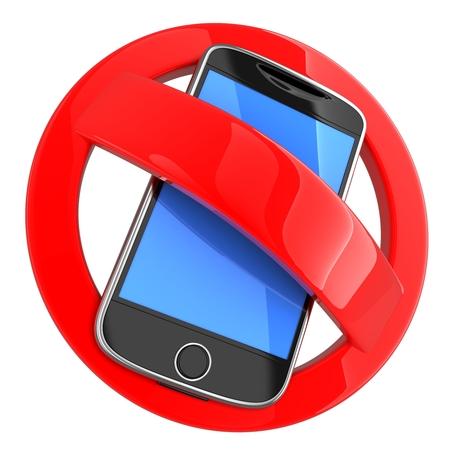 interdiction telephone: Pas de t�l�phone sur fond blanc (fait en 3d)
