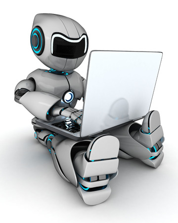 AI: Robot working on laptop (done in 3d)