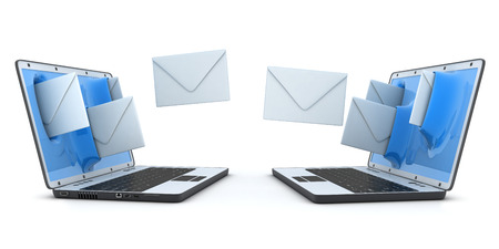 telegram: Laptop and fly envelopes (done in 3d) Stock Photo