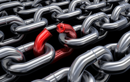 vulnerability: Chain and bad link (done in 3d) Stock Photo