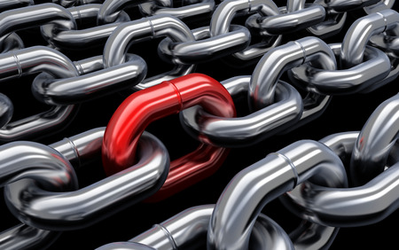 vulnerability: Chain and red link  (done in 3d) Stock Photo